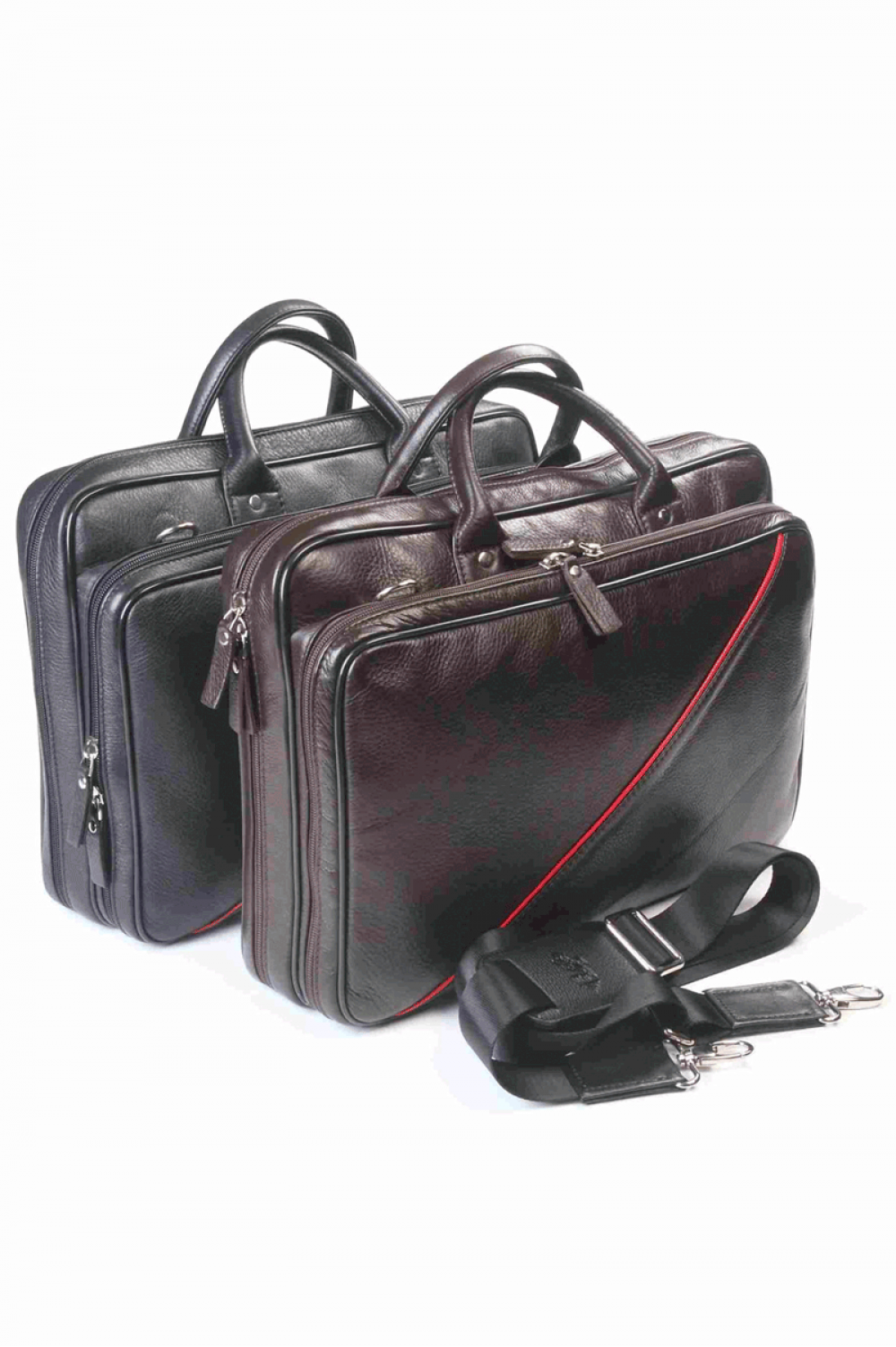 Black business bag for laptop or documents from natural leather - 217211