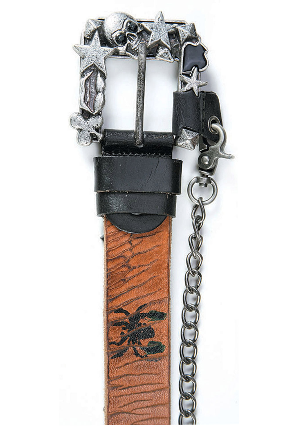 Art Sports Belt from natural dark brown skin patterned with skulls and spiders, studs and attached chain - 514644