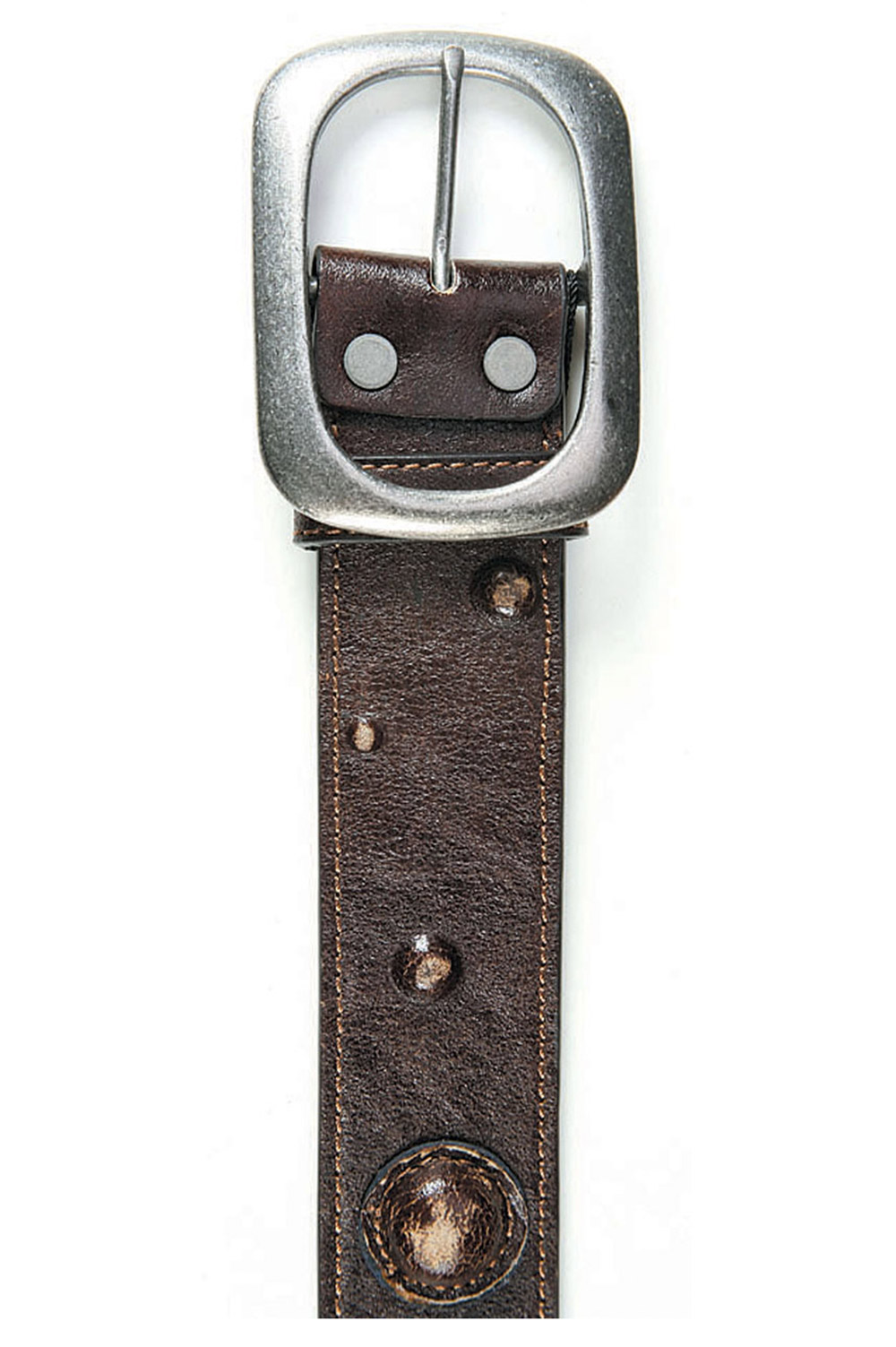 Art Sports Belt from natural dark brown skin with leather toe cap and buds - 514724