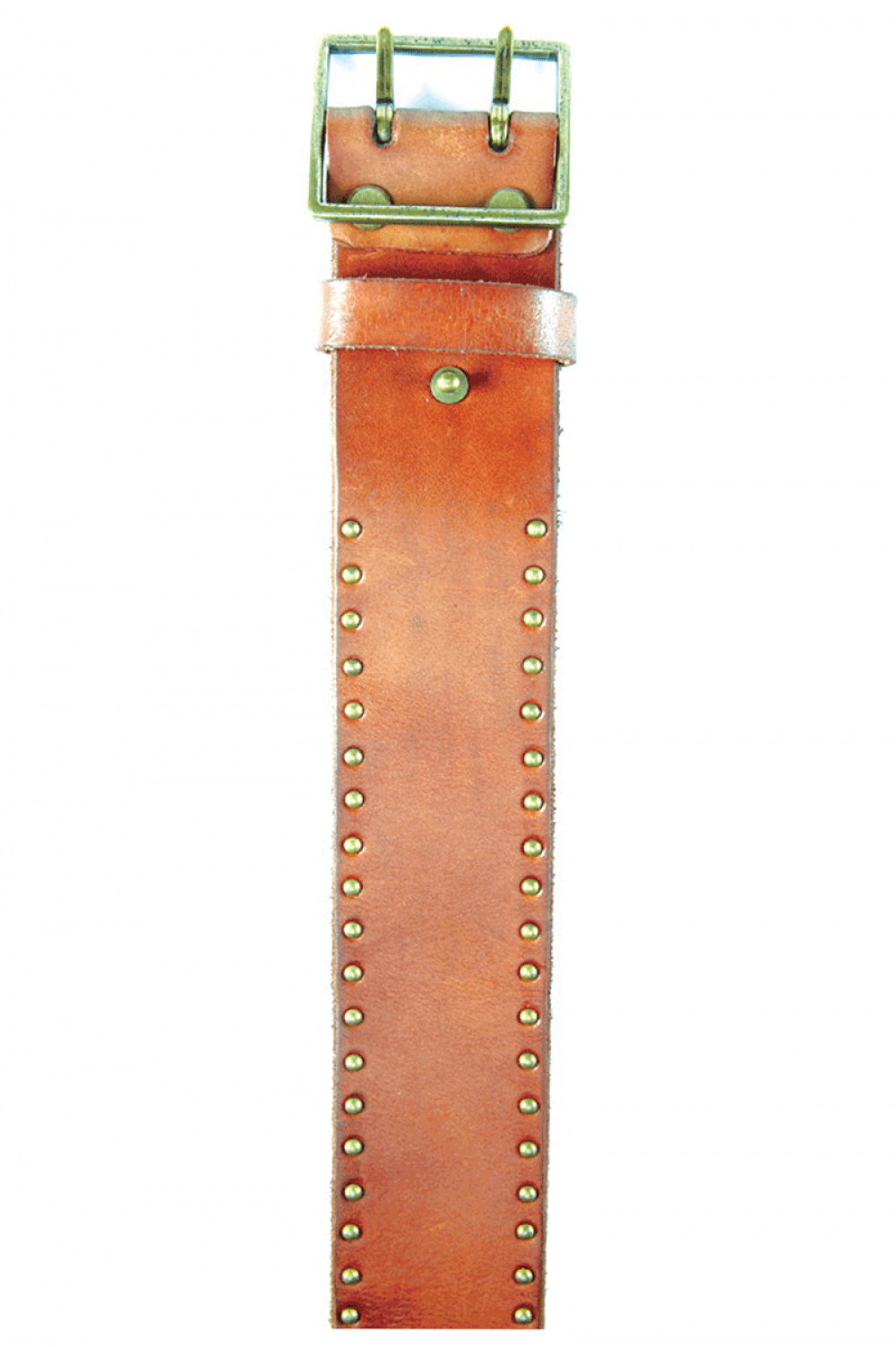 Women Light Brown leather belt with caps - 514064