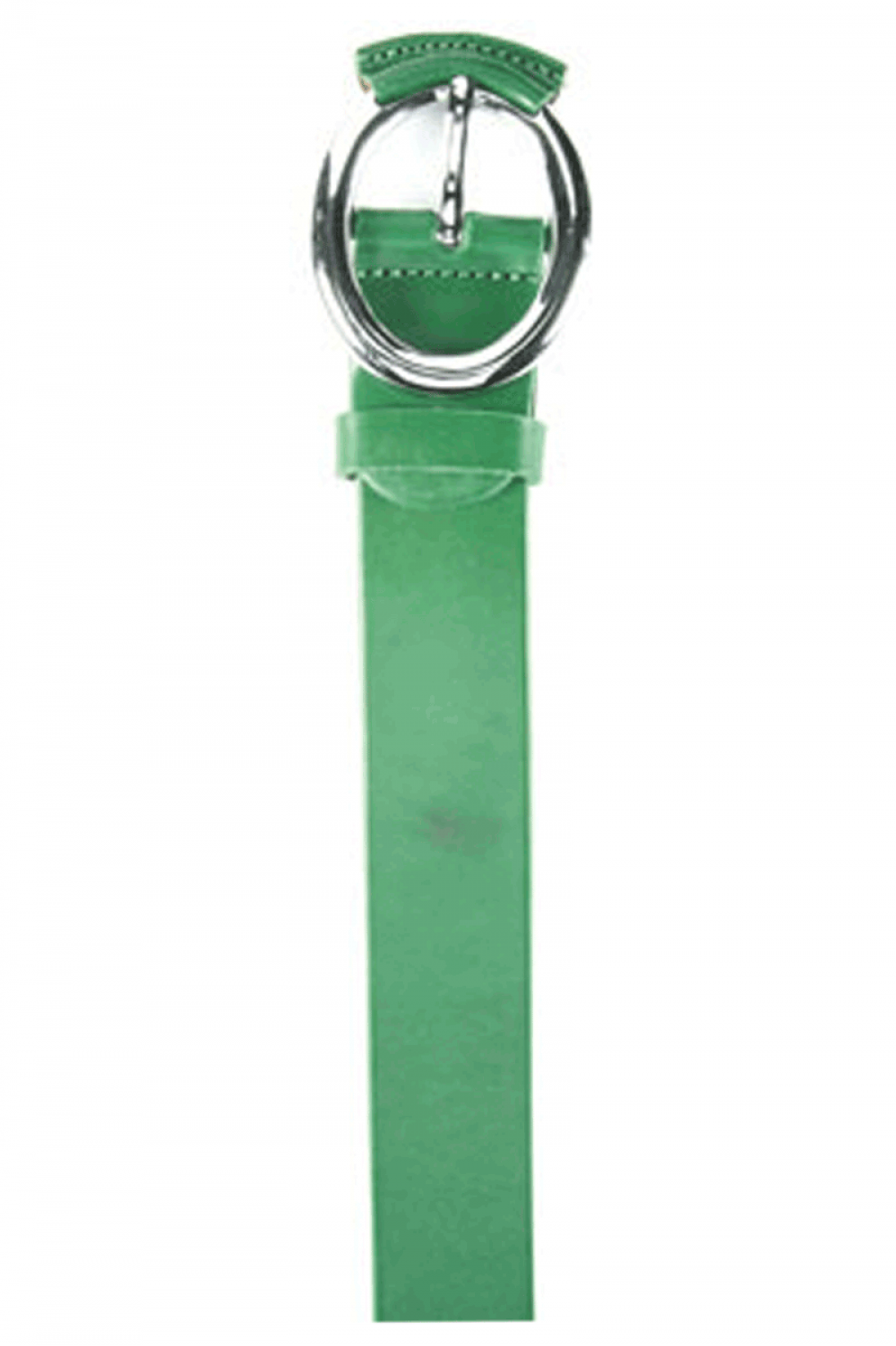 Women Green leather belt with oval leather buckle - 515637