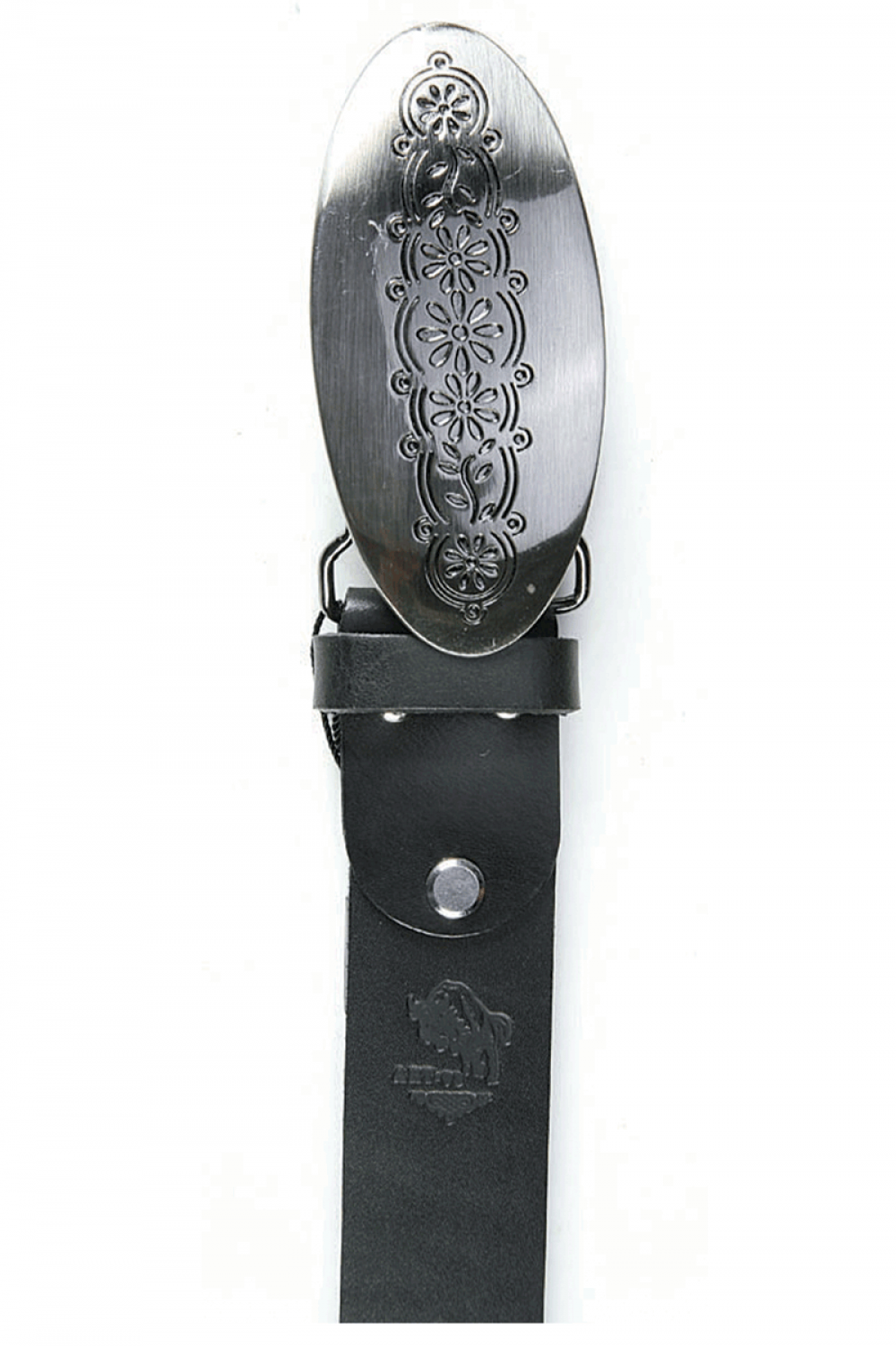 Women Black leather belt with metal ornaments and joints - 516621