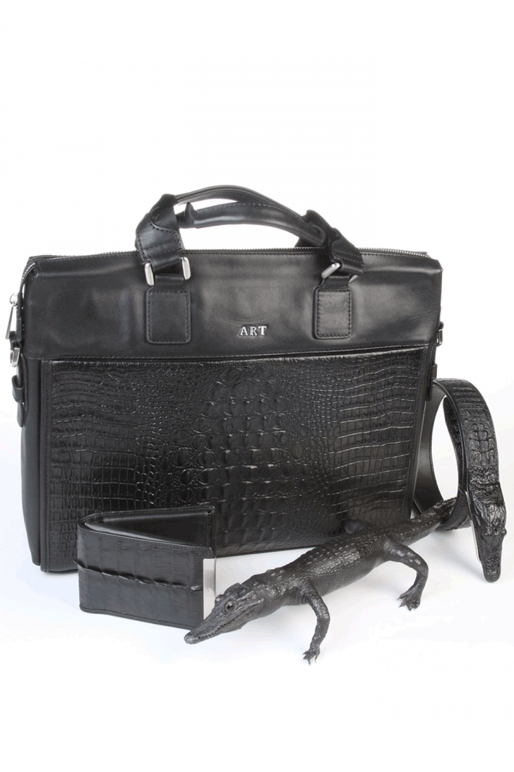 Black ladies horizontal bag from crocodile natural skin - 441271