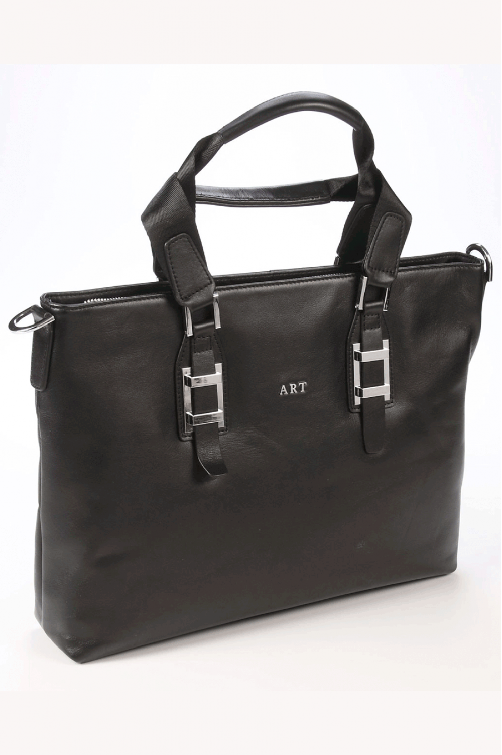Black Women handbag from natural leather with zipper - 448191