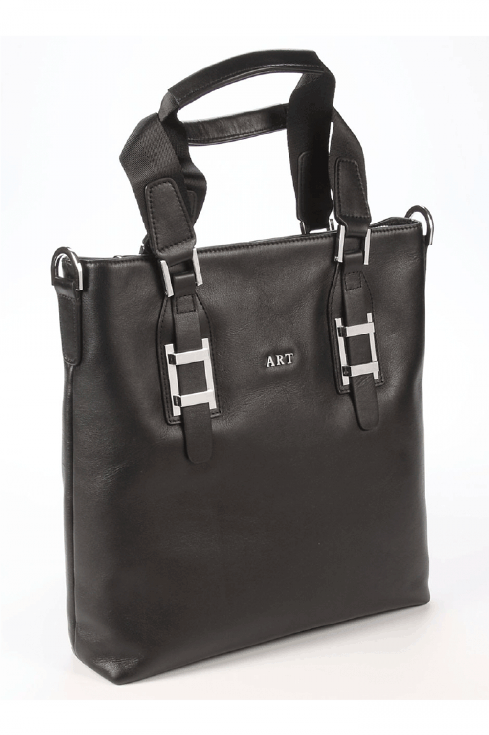 Black Women Vertical handbag from natural skin with zipper - 448201
