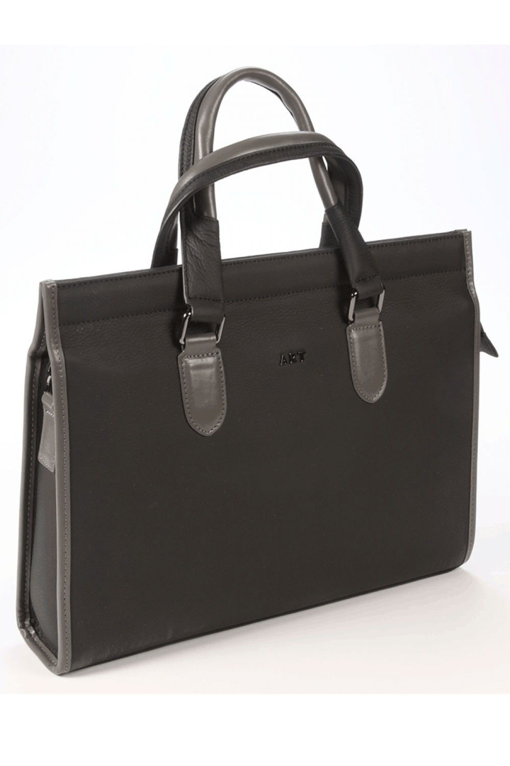 Black ladies bag with horizontal edge from natural skin - 448221