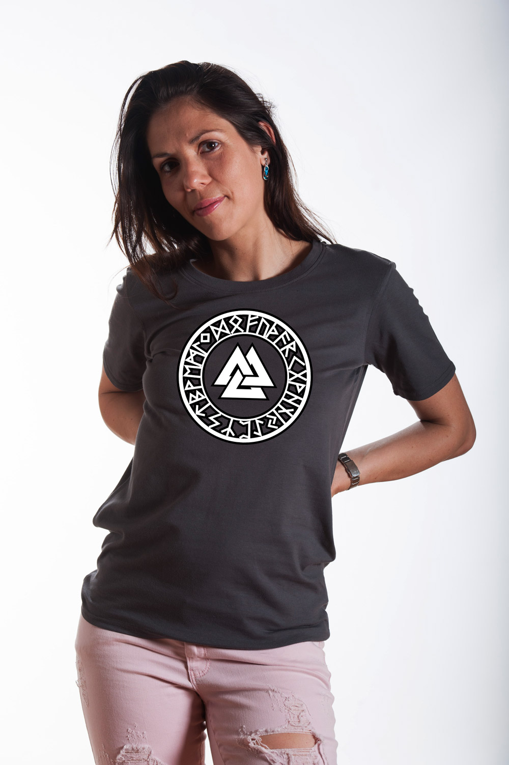 Valknut with Runes Circle 2 T shirt | Norse Mythology Tee | Valknut Tshirt | Unisex Norse Shirt