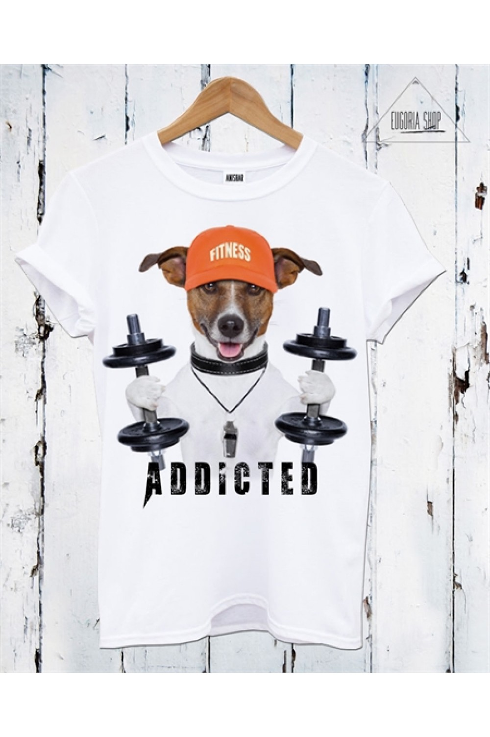 FITNESS ADDICTED Printed T shirt | Men Tank top | DOG Tee | Gym Tee