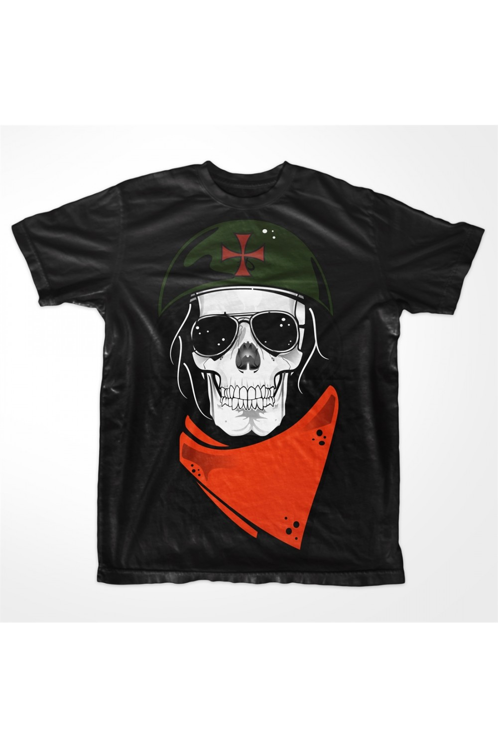 Skull with helmet Men Printed t shirt
