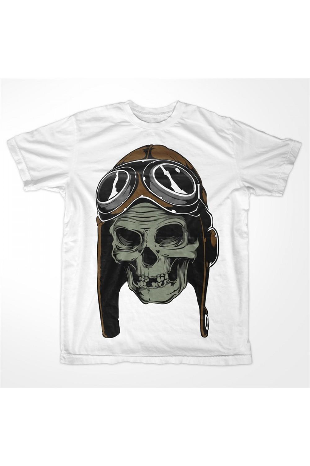 Pilot Skull Men Printed T Shirt 4005