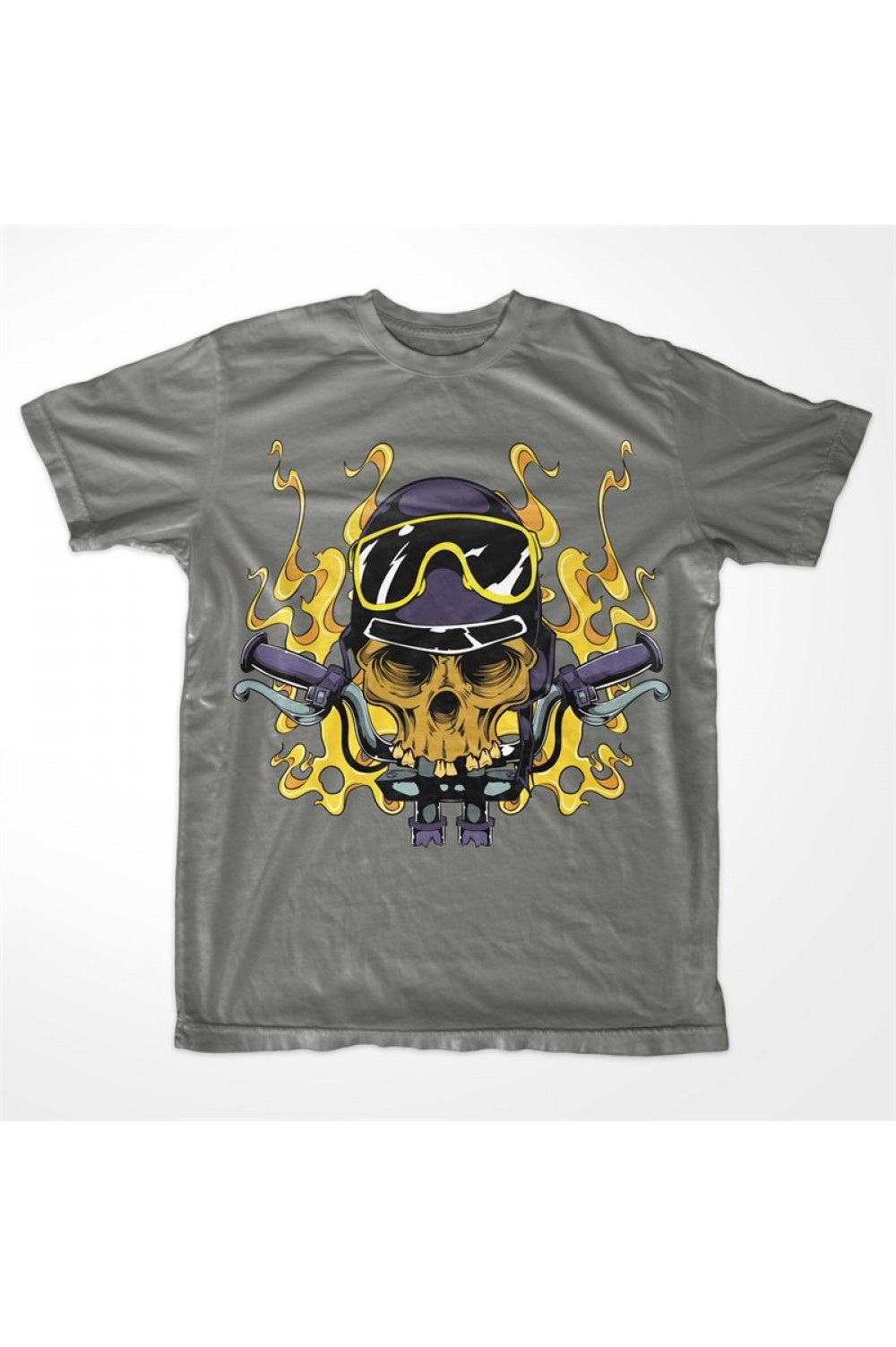 Motorbike Skull Men Printed T-shirt 4006