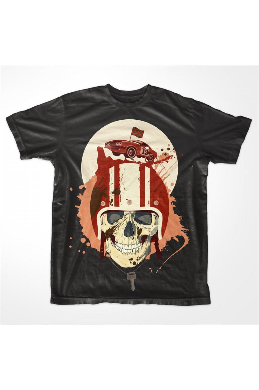 Racing Skull Men Printed T shirt 4007A