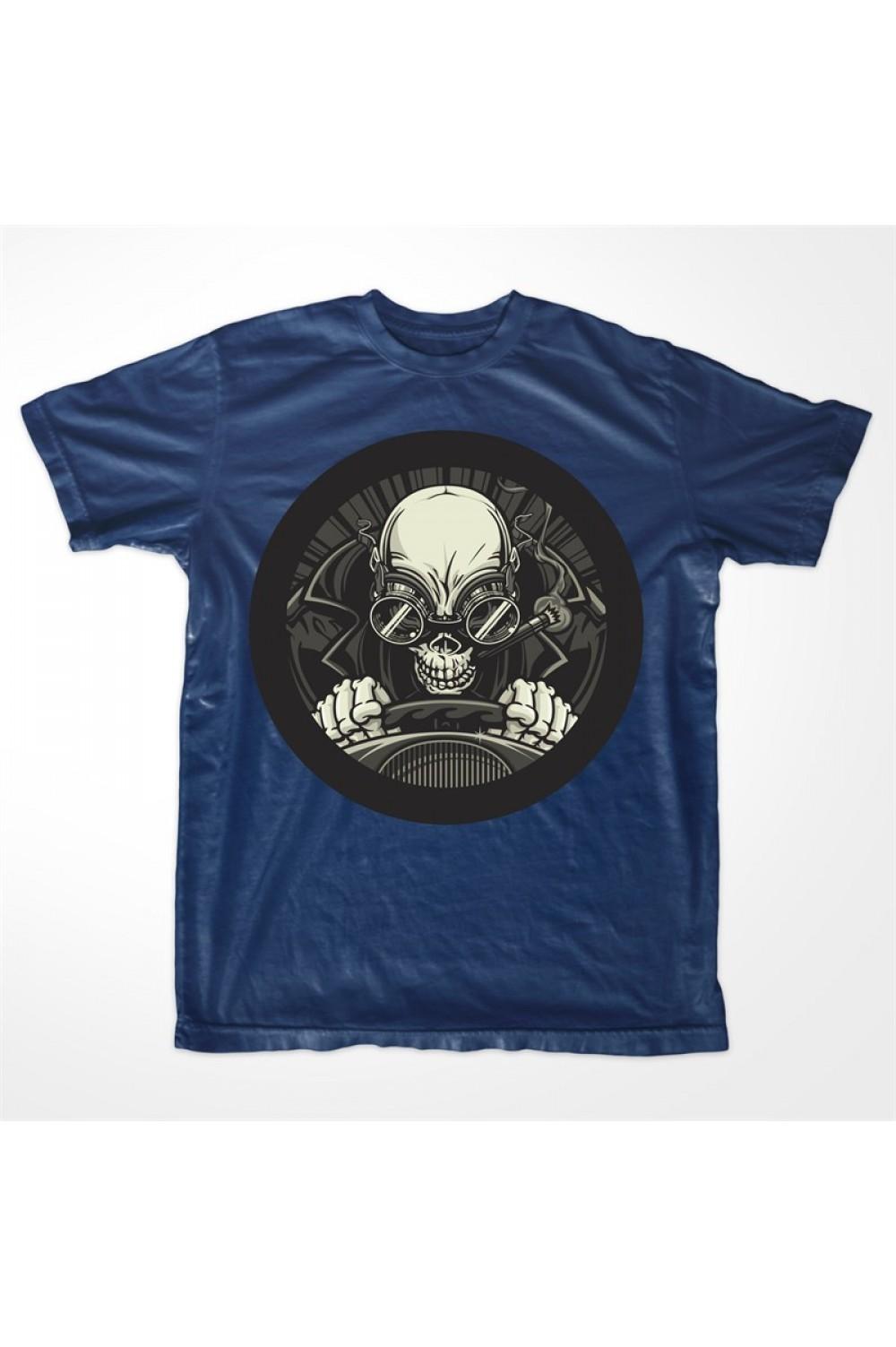 Driver Skull Men Printed T Shirt 4010
