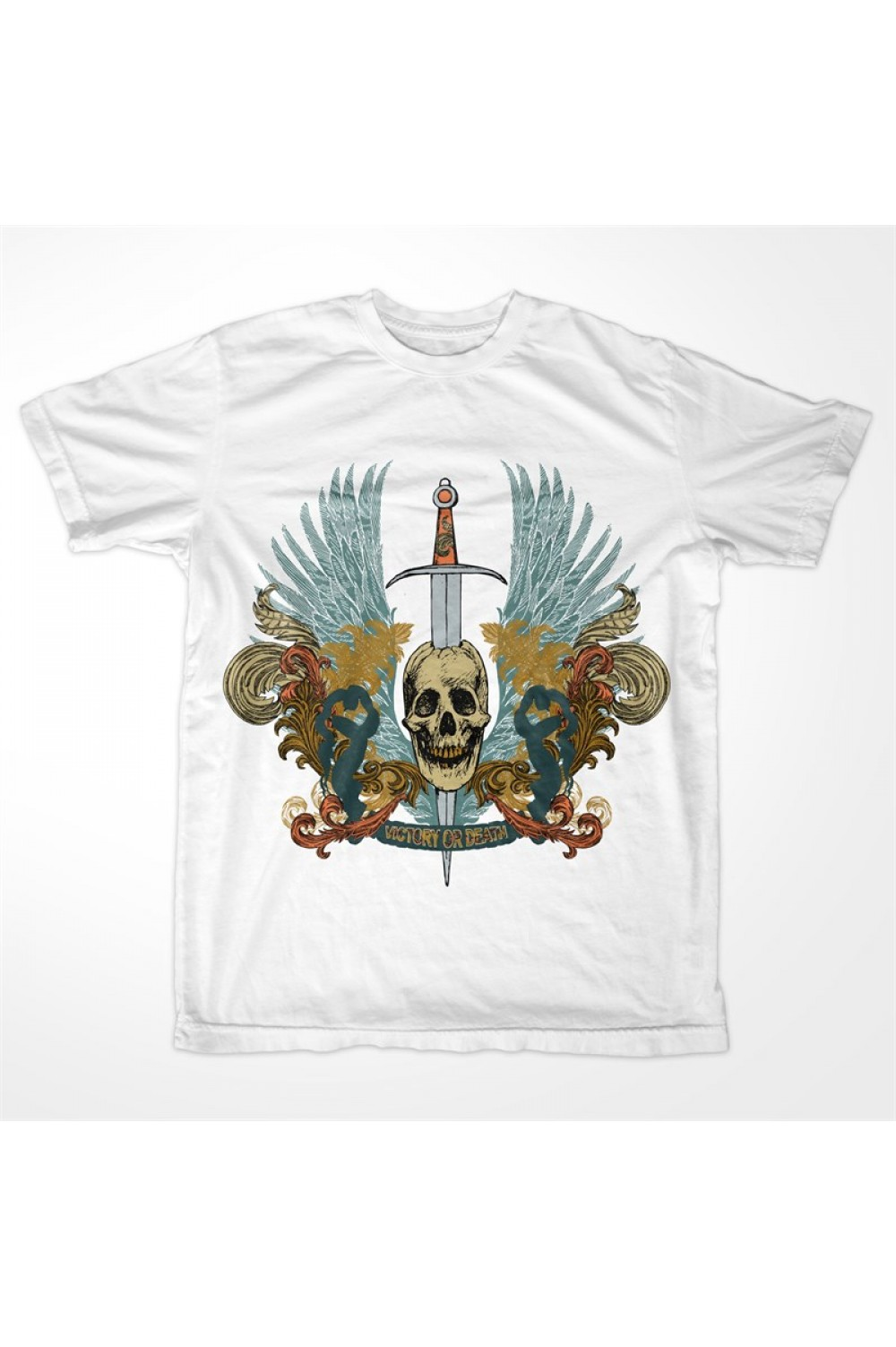 "Skull Pirate Men Printed Tshirt 4013 ""Victory or Death"""
