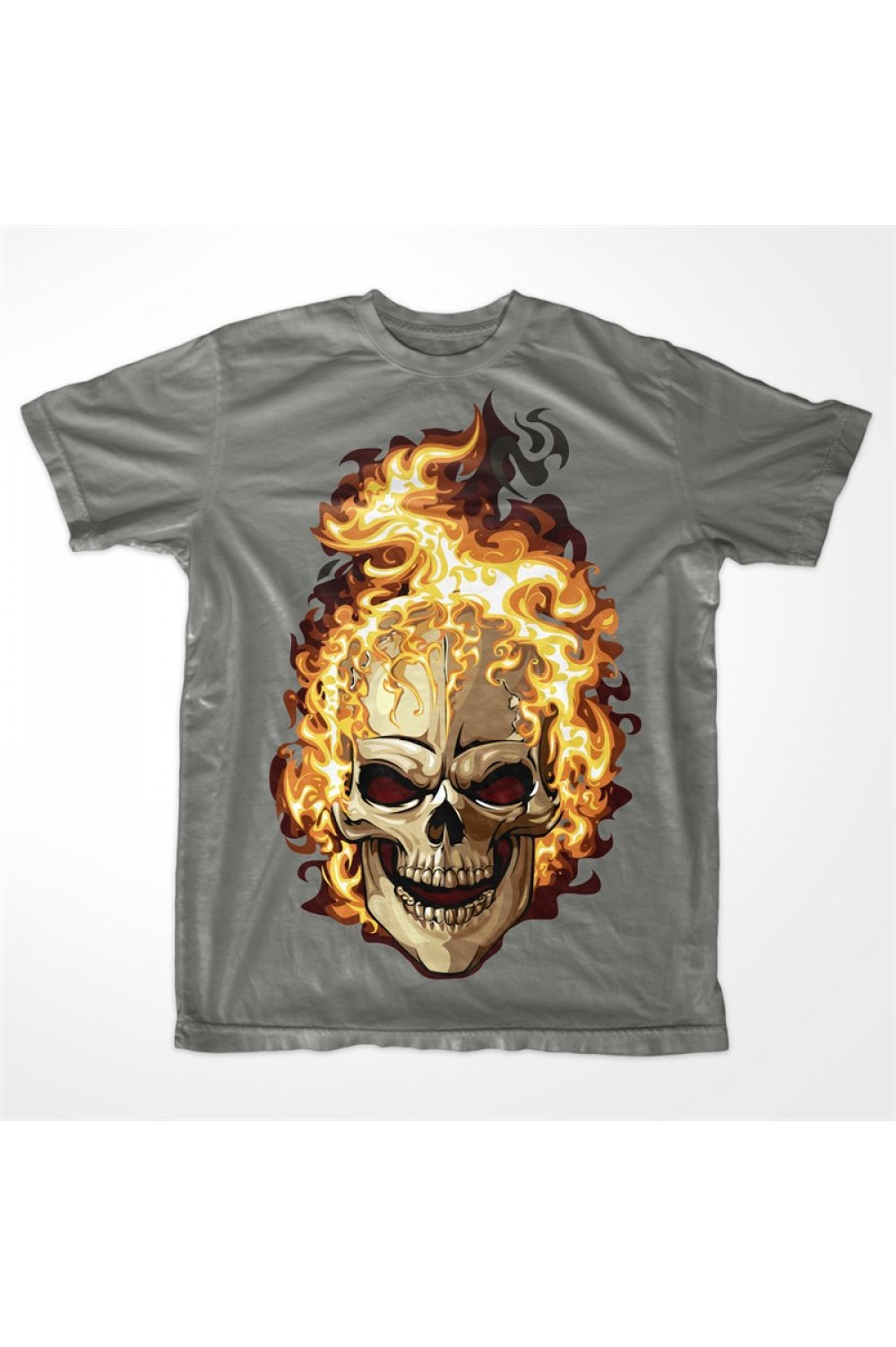 Flaming Skull Men T-shirt 4014