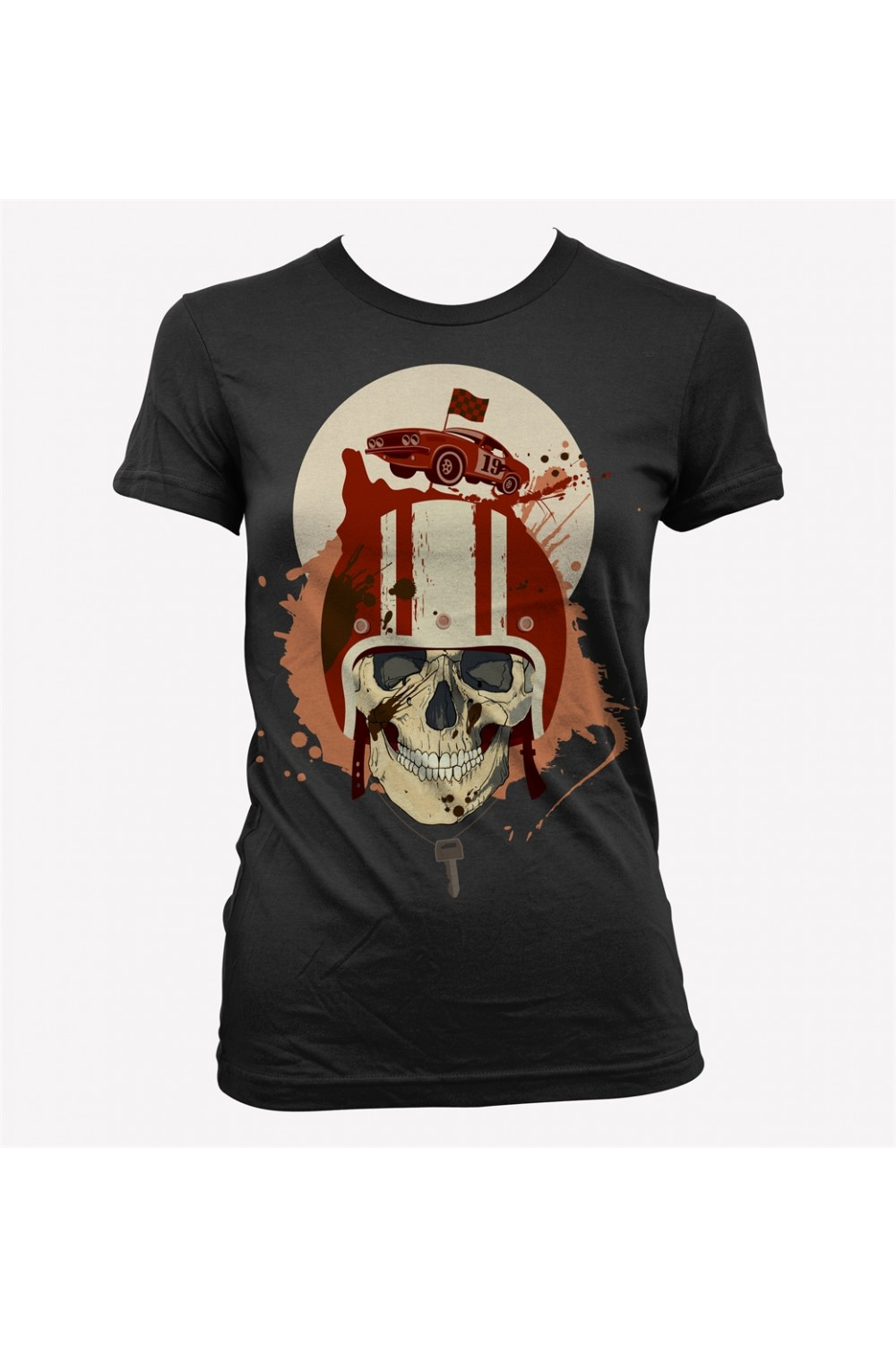 Racing Skull Women Printed T shirt 4007A
