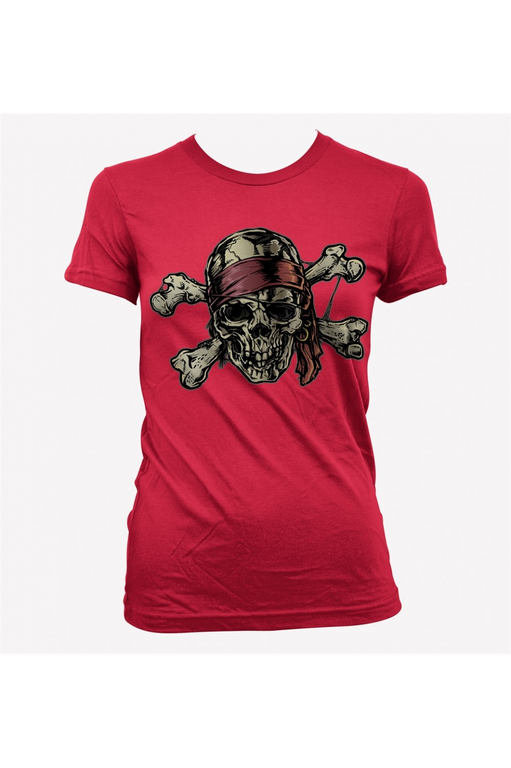 Skull Pirate Lady Printed T shirt 4009