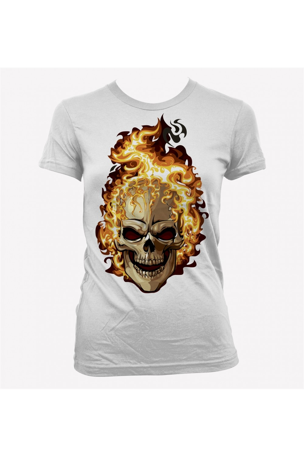 Flaming Skull Women Printed T shirt 4014